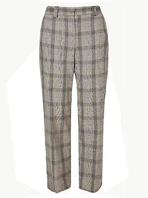 £10.99 • Buy New Ladies Brown Checked Relaxed Straight Leg Trousers Ex M&s Size Short/8