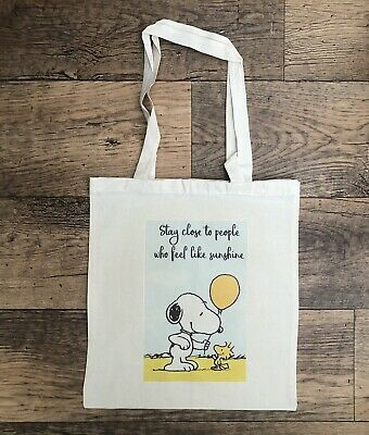 £4.99 • Buy Snoopy & Wood Stock Sunshine Canvas Tote Shopping Bag Personalised