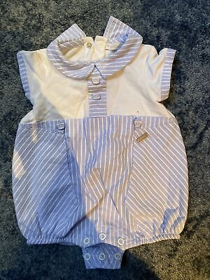 £5.50 • Buy Coco Baby Boy Suot Blue And White - Age 0-3 Months - VG Used Condition