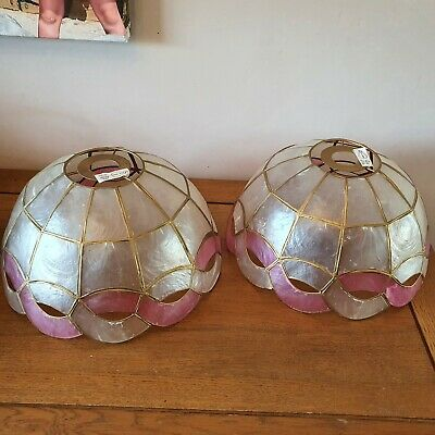 £40 • Buy Two Vintage Retro Capiz Medium Shell Lightshade Mother Of Pearl Pink/Gold Dome