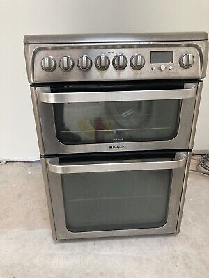 £144 • Buy Hotpoint Ultima HUE61 Stainless Steel 60cm Double Oven Electric Cooker