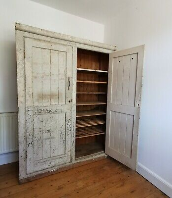 £740 • Buy Large Antique Vintage Industrial Linen Press House Keepers Kitchen Cupboard
