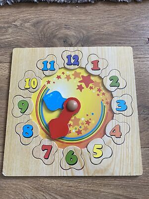 £0.99 • Buy Learn To Tell The Time Clock, Wooden Puzzle