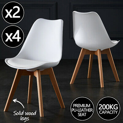 AU85 • Buy 2/4x Kitchen Dining Chairs Chair Replica PU Leather Cafe Chair Wooden Legs White