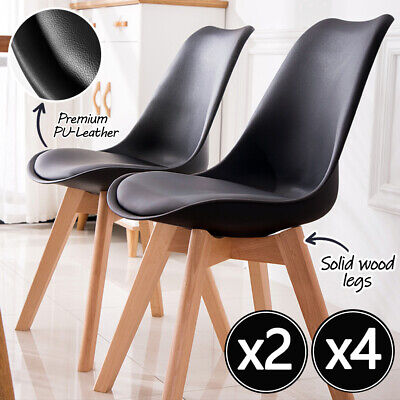 AU92 • Buy 2/4x Kitchen Dining Chairs Chair Replica PU Leather Cafe Chair Wooden Legs Black