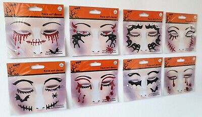 £2.95 • Buy Temporary Halloween Tattoo Face Gems Jewels Glitter Make Up Stickers Stitches