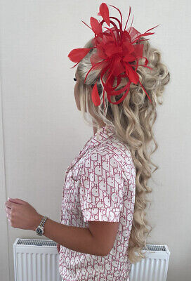 £8 • Buy Womens Handmade Red Feather Bow Fascinator Clip In Headpiece