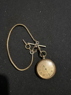 £12.50 • Buy Meltis Brass Cased Pocket Watch With Albert Chain And Key