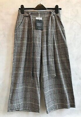 £14 • Buy NEW+TAGS - MADE IN ITALY Closet Grey Houndstooth Wide Leg Culotte Trousers S 8