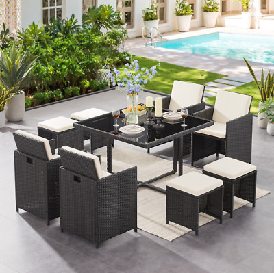 £399.99 • Buy 9 Piece Rattan Garden Cube Set Chairs Sofa Table Outdoor Patio Furniture Set New