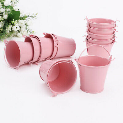 £9.49 • Buy Set Of 12 Small Mini Buckets Party Wedding Favours Crafts Metal Pails Pink