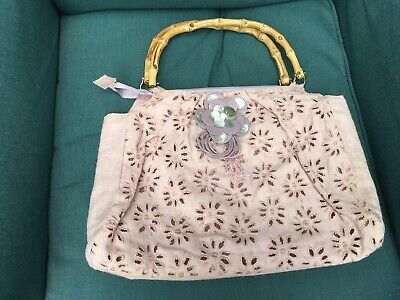£5 • Buy Womans Linen Bag With Wooden Handles, TK Max, VERY GOOD CONDITION, Lilac Colour