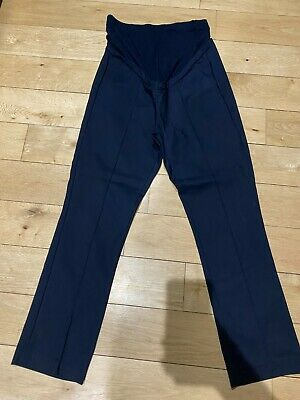 £9.99 • Buy Maternity Seraphine Smart Fitted Cropped Trousers Navy, Overbump, Size 8 / 36