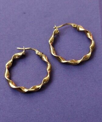 £16 • Buy 375 9ct Gold Twisted Creoles 20mm