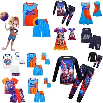 £10.03 • Buy 2Pcs Space Jam Basketball Costume Vest Shirt Tops Shorts Outfit Dress Kids Gift