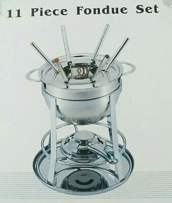 £3.90 • Buy Stainless Steel Fondue Set 11 Piece Cheese Chocolate Melting Pot Boxed