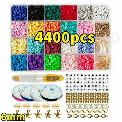 £11.99 • Buy 1Set Flat Polymer Clay Beads Spacer For DIY Bracelets Jewelry Making Finding UK