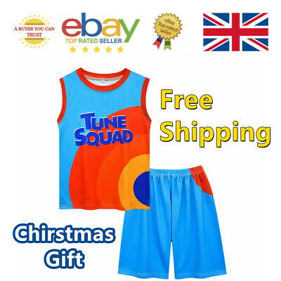 £10.87 • Buy 2Pcs Space Jam Basketball Costume Vest Shirt Tops Shorts Outfit Kids Jersey 2021