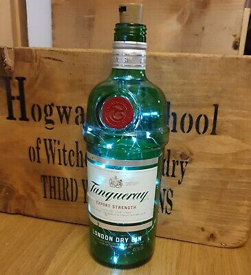 £4.50 • Buy Tanqueray Dry Gin Green Bottle With Fairy Lights Lamp Upcycle 70cl Alcohol