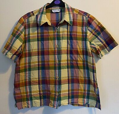 £4.99 • Buy Penny Plain Ladies Red Blue Yellow Checked Blouse Size Medium