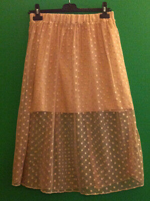 £4 • Buy ~atmosphere~beige~spotted~net~calf Length Skirt With Short Lining~size 12~
