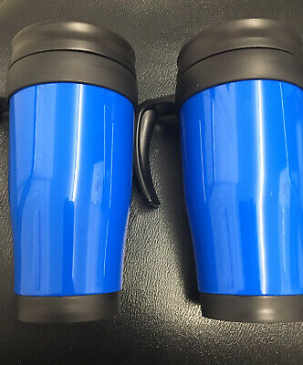£9.99 • Buy 2 X Insulated Double Wall Hot Cups Non Spill Travel Mug With Lid Grip Coffee Tea