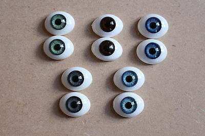 £13.95 • Buy SOLID GLASS EYES 10mm - 24mm QUALITY FLAT BACK OVAL FOR REBORN OOAK BABIES DOLLS