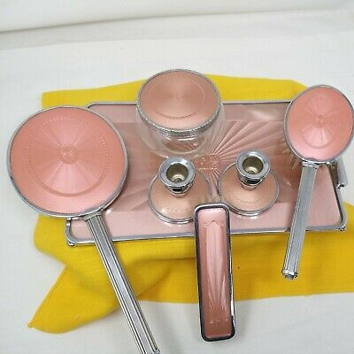 £19.95 • Buy Vintage 7 Piece Pink Dressing Table Set Brushes Tray Mirror Candlesticks