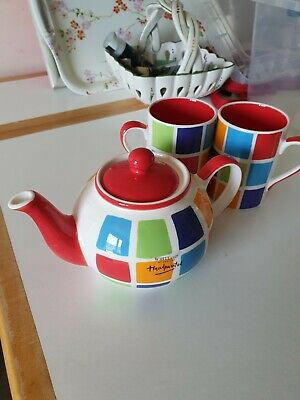 £1.20 • Buy Whittard Of Chelsea Small Teapot Mosaic Multicoloured With Two Mugs