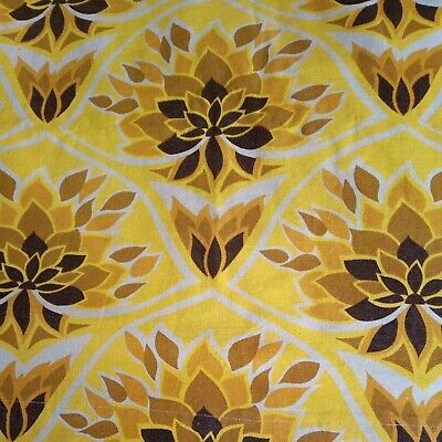 £39.99 • Buy VINTAGE 70s Yellow Brown Flower Power Pair Curtains W88  X D46