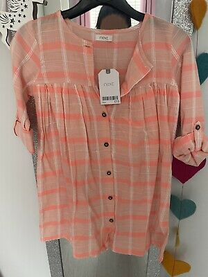 £4 • Buy Next Girls Checked Smock Dress In Coral Age 5-6 BNWT