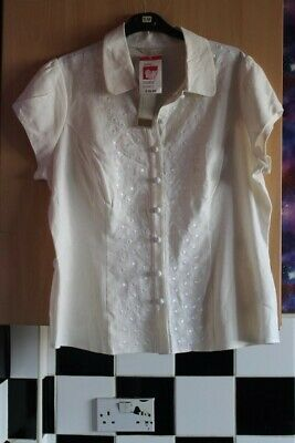 £1.99 • Buy Bnwt Cream /Off White Linen Blend Button Up Embroidered Top By M&S Size 18 Boho