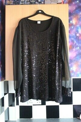 £1.70 • Buy Stretch Black Sequin Sheer Sleeve Tunic Top By Cotton Traders Size 24 Goth Party