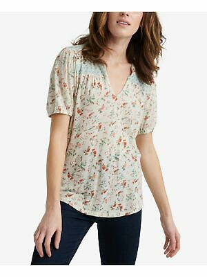£10.16 • Buy LUCKY BRAND Womens Beige Printed Short Sleeve V Neck Peasant Top Size: XL