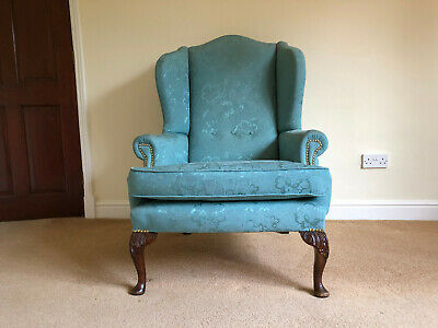 £140 • Buy Scroll Wing Back Turquoise Fabric Armchair