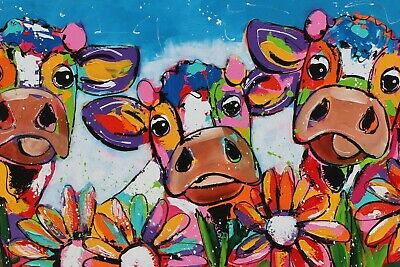 £10.99 • Buy Cows Flowers Animals Modern Painting Home Decor Wall Art Poster/Canvas Picture