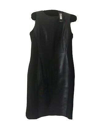 £30 • Buy NEW M&S Autograph Black Leather & Fabric Dress Size 14