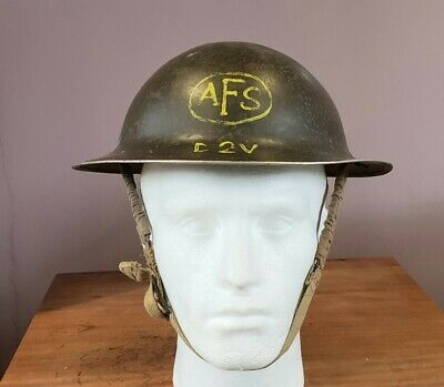 £110 • Buy Original WW2 Auxillery Fire Service AFS Brodie Helmet With Decal 1942