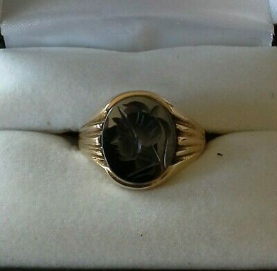 £95 • Buy 9ct Gold And HAEMATITE INTAGLIO Gents Signet Ring Size - S