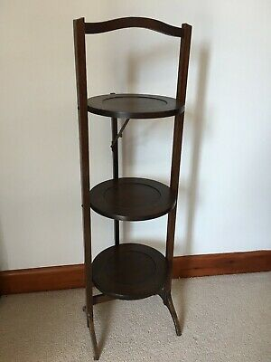 £15 • Buy Vintage Wooden Folding Cake Stand/ Plate Stand/ Plant Stand/ Dumb Waiter