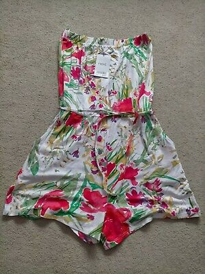 £12 • Buy NEXT Ladies Floral Bandeau Playsuit Summer Strapless Size 8 BNWT ❤️