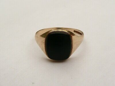 £129.99 • Buy Super Mens Vintage Solid 9ct Gold Onyx Signet Pinky Ring Size S