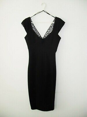 £12 • Buy Star By Julien Macdonald Black Wiggle/Bodycon Dress With Animal Print Size 8