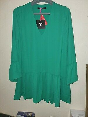 £6.99 • Buy Very Womens V-cut Tunic Top Ladies Plus Size Tops Loose   Baggy 3/4 Sleeve