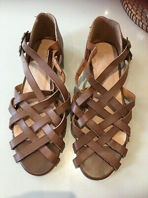 £6.99 • Buy Tan Leather Flat Sandals NEXT Size 6 1/2 - 40 - Hardly Used