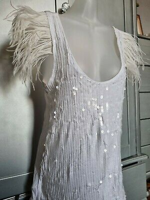 £6 • Buy Mango MNG Jeans Sequin Vest, White With Feather Detail (BNWT) Size Medium