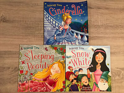 """£2 • Buy 3 Illustrated Story Books """"Princess Time"""" -Cinderella Sleeping Beauty Snow White"""