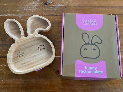 £4.20 • Buy Bamboo Pink Bunny Suction Plate Natural Feedind Every Kind Of Dish Kids