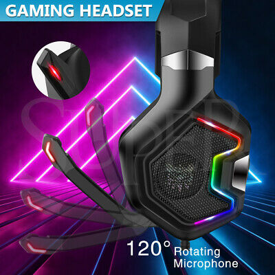 AU41.99 • Buy K10 Pro RGB Gaming Headset Noise Canceling Gaming Headphones With Mic For PC PS4