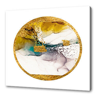 £19.99 • Buy Abstract Golden Yellow Paint Swirls Modern Box Canvas Print Wall Art Picture